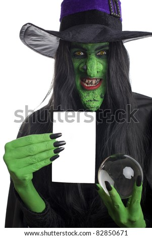Witch with space for text, white background. - stock photo