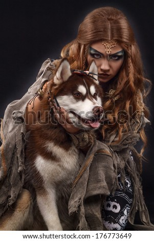 witch with the husky dog