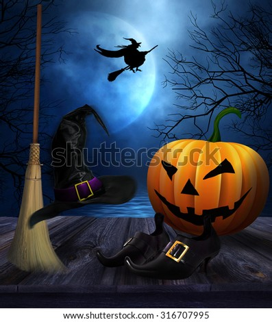 Witches broom hat and shoes with spooky Halloween background - stock photo