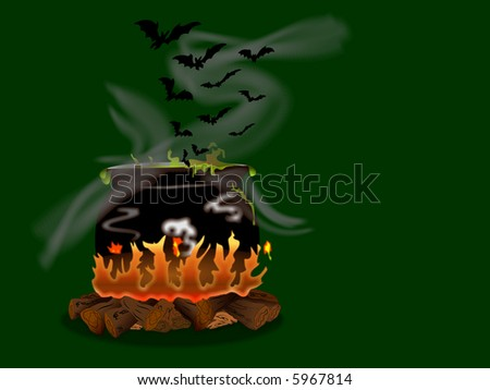 Witches cauldron bubbling over a wood fire.