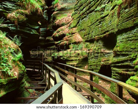 Witches Gulch is a beautiful slot canyon in the Wisconsin Dells - stock photo