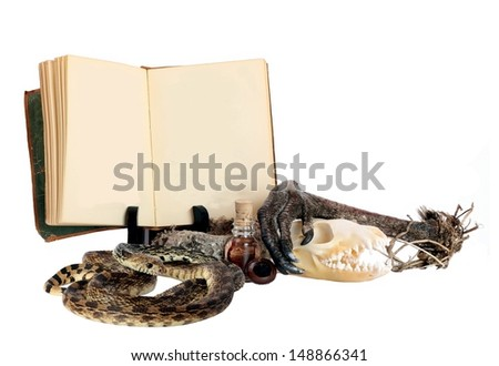 Witches Potion Book with Blank Pages and Room for Your Text with some Ingredients for a Bubbly Halloween Brew - stock photo