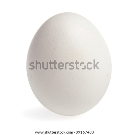 Wite egg stands upright isolated on white background with shadow. Image have clipping path. - stock photo