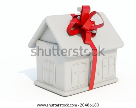 Wite home toy with ribbon isolated on white - stock photo
