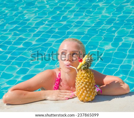 With a Fancy Cocktail Vacation Relaxation  - stock photo