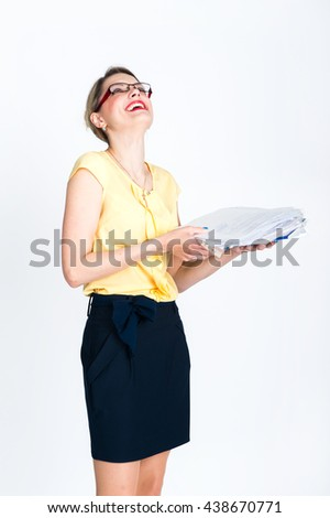 With business papers Young Business blonde woman laughing on a light background