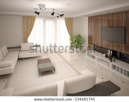 With classical modern living room with functional furnishings and a dark background, 3d rendering.