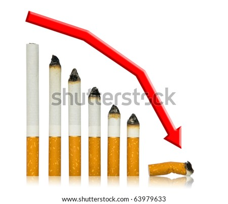 With each cigarette graph of your life steeper to end. Stop smoking in any moment of your life! Isolated on white. - stock photo