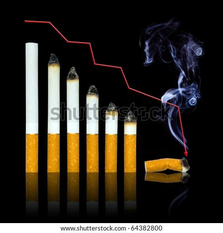With each cigarette graph of your life steeper to end. Stop smoking in any moment of your life! Isolated on black. - stock photo
