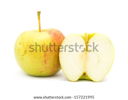 with half an apple on a white background