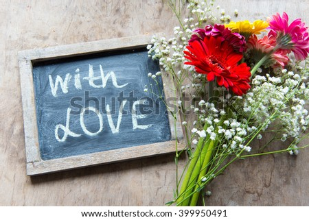 With love/bouquet with gerbera flowers - stock photo