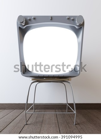 with mockup hipster aluminum screen TV. Aluminum TV on a wooden floor with a white background.