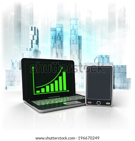 with positive online results in business district illustration - stock photo