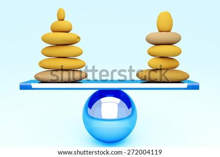 With stones equilibrium through balance - stock photo
