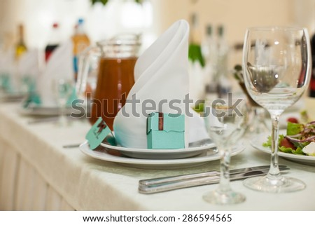 with style and creative decorated  tables  for the celebration  wedding of happy couple - stock photo