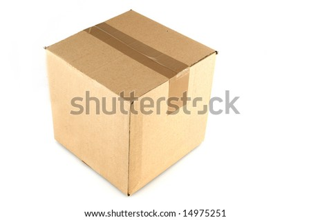 with tape closed brown box - stock photo