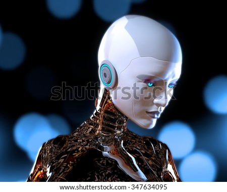 With These New Blue Eyes. 3D rendered futuristic female.  - stock photo