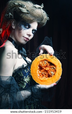 With with pumkin. Halloween theme.  - stock photo