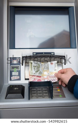 Withdraw money on atm,rsd