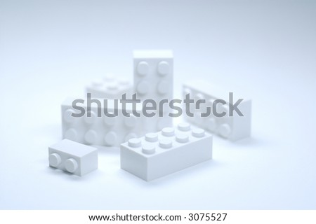 Withe building block on white background - stock photo