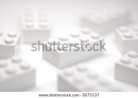 Withe building block on white background