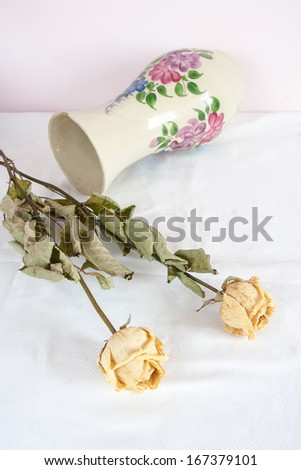 withered roses still life - stock photo