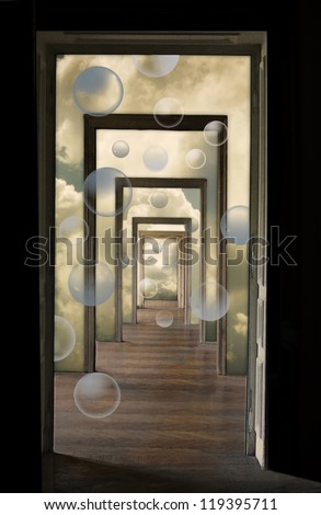 Within a Dream 3, metaphorical illustration. Linear perspective view through several open doors and empty rooms. - stock photo