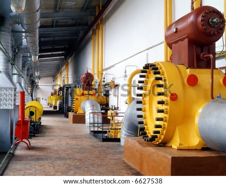 Within a gas transmission system, the compressor stations constitute a primary high-tech component in charge of the reliable gas supplies - stock photo