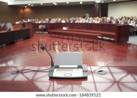 witness stand at court house - stock photo