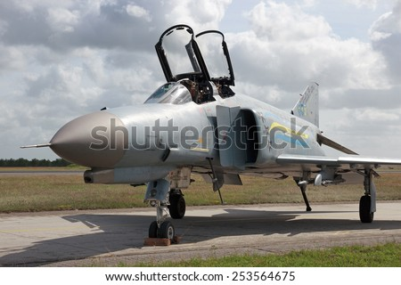 WITTMUND, GERMANY- JUNE 29: German F-4 Phantom after it's last flight before decommisioned on June 29, 2013 at Wittmund , Germany. The F-4 Phantom has flown 40 years with the German Air Force.