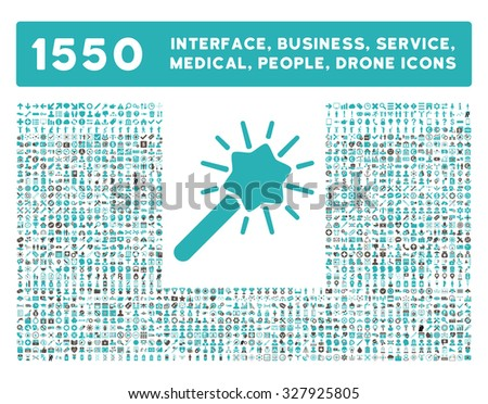 Wizard icon and other web interface, business, tools, people, medical service and awards glyph symbols. Style is bicolor flat symbols, grey and cyan colors, rounded angles, white background. - stock photo