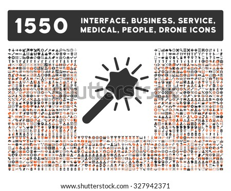 Wizard icon and other web interface, business, tools, people, medical service and awards glyph symbols. Style is bicolor flat symbols, orange and gray colors, rounded angles, white background. - stock photo