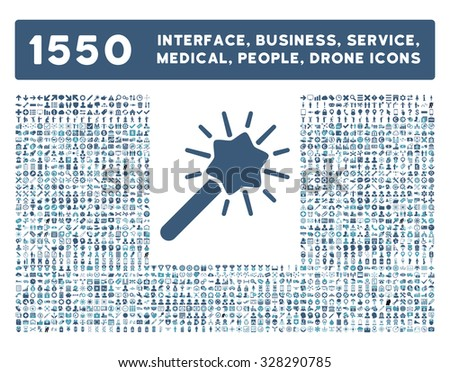 Wizard icon and other web interface, business, tools, people, medical service and awards glyph symbols. Style is bicolor flat symbols, cyan and blue colors, rounded angles, white background. - stock photo