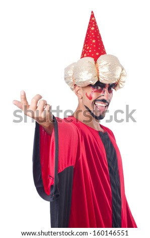 Wizard in red costume isolated on white - stock photo