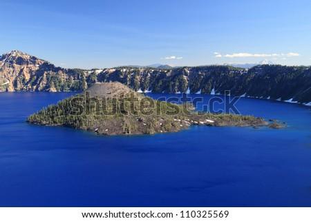 Wizard Island, Crater Lake - stock photo