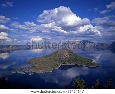 Wizard Island in Crater Lake, Crater Lake National Park is located in Oregon on the west coast of the United States. - stock photo