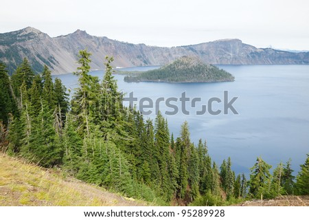 Wizard Island in crater lake national park, oregon, usa - stock photo
