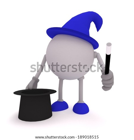 Wizard magic, magic tricks, wizard hat, wizard magic wand, blue wizard magic - stock photo