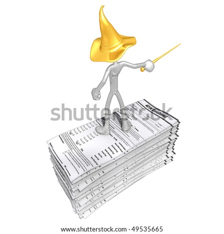 Wizard On 401K Forms - stock photo