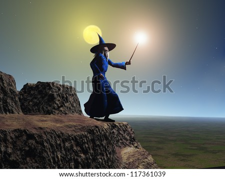 Wizard using his wand - stock photo