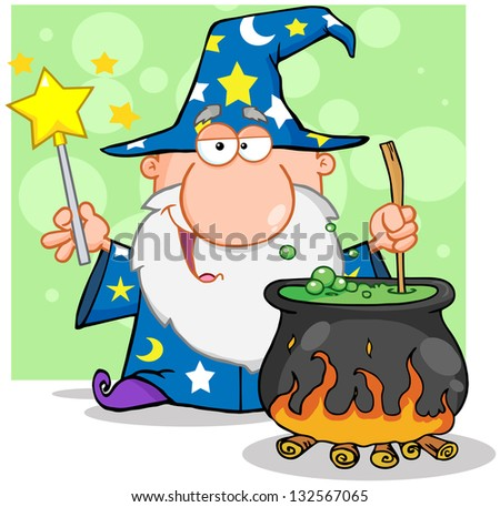 Wizard Waving With Magic Wand And Preparing A Potion. Raster Illustration.Vector Version Also Available In Portfolio. - stock photo