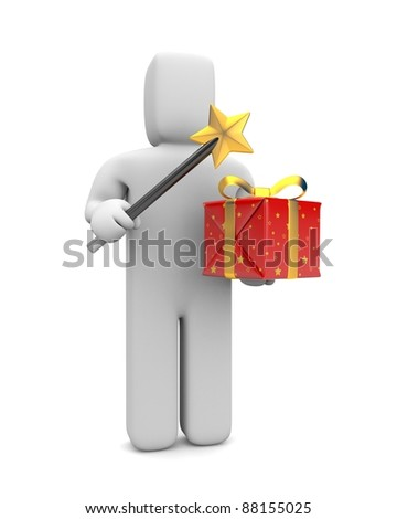 Wizard with magic wand and gift box. Image contain clipping path - stock photo
