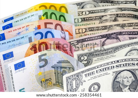 wo leading hard currencies - US Dollar versus Euro - stock photo