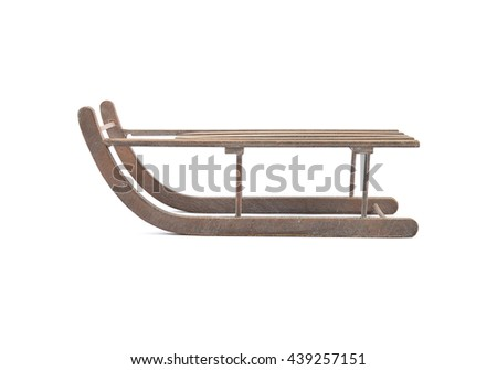 Wodden sleigh on white background