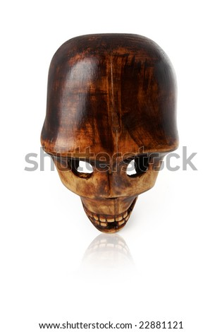 woden skull over white with clipping path - stock photo