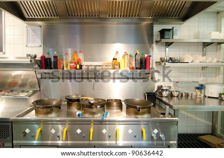 Wok equipment  in asian kitchen