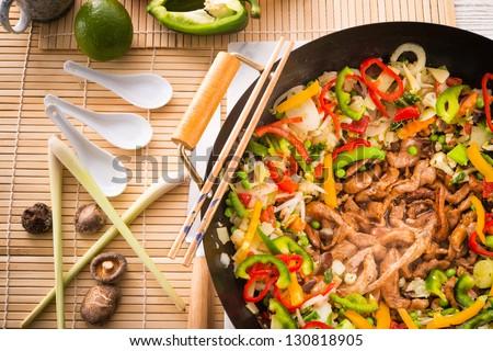 Wok frying pan - stock photo