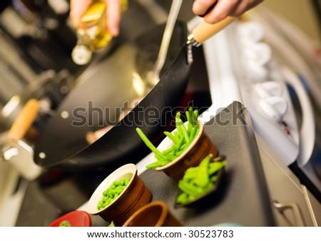 Wok ingredients. Freshly cut vegetables prepared for cooking - stock photo