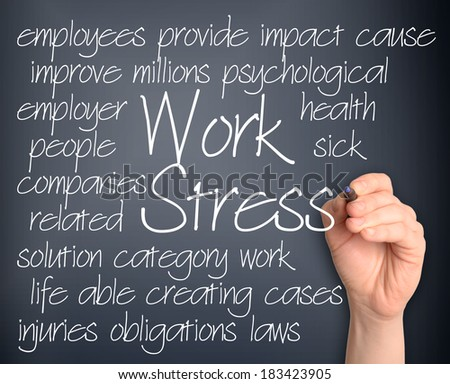 Wok stress word cloud handwritten  - stock photo