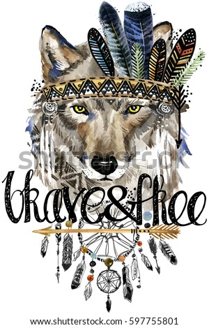 Wolf American Indian Chief Headdress War Stock